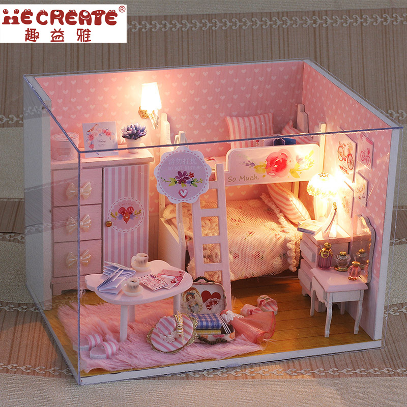 DIY Doll House Miniature Bedroom Doll house with Dust Cover Furniture Girl's DollHouse Toys for Children Best Girl Birthday Gift diy doll house doll house miniatures house miniature - title=