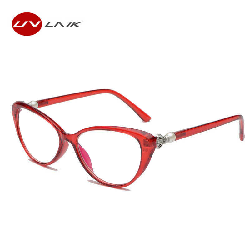 c74059a4f06 UVLAIK Fashion Cat Eye Reading Glasses Women Transparent Anti Blue Light  Eyeglasses Hyperopia Prescription Spectacles 2.5