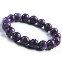 Hot Sale Genuine Natural Purple Charoite Crystal Stone Round Bead Women Bracelets 12mm