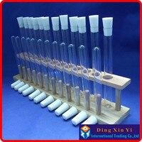 Sales promotion 1pcs wooden test tube rack(12holes)+24pcs glass test tube+24pcs silicone stopper