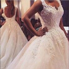 ZJ9076 Новое Элегантное бальное платье белого цвета и цвета слоновой кости, свадебные платья для невест, кружевное милое платье с кружевным краем размера плюс
