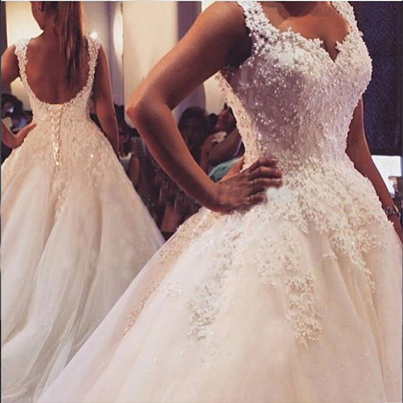 ZJ9076 2019 New White Ivory Elegant Ball Gown Wedding Dresses For Brides Lace Sweetheart With Lace Edge Plus Size