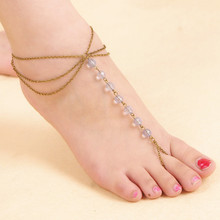 New Occident Simple Style Crystal Beads Multi-layer Chains Beach Anklet Women Foot Jewelry