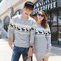 2016 Christmas sweaters Korean Men's/Women Round collar long sleeve pullover sweaters Plus Size matching deer Couple sweaters