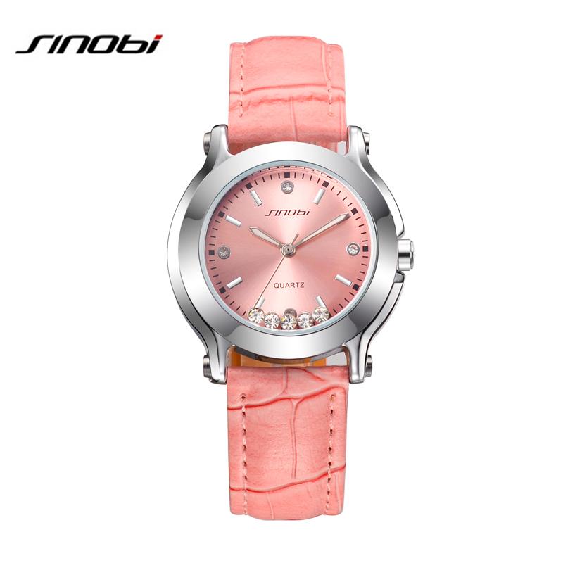 Prix pour Célèbre Marque SINOBI Femmes en cuir robe montres dames De Luxe Casual quartz montre relogio feminino femme strass horloge heures