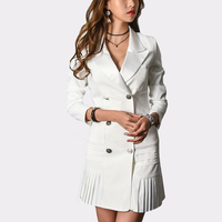 Elegant Blazer Notched Collar Women Sheath Work Dresses Uniform Hip Packaged Office Ladies Double Breasted Sexy