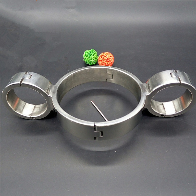 Stainless Steel Bondage Collar+Handcuffs for Sex  Bondage Restraints Collar Sex Metal Hand Cuffs Sex Products for Couples 14 stainless steel spreader bar leather harness hand ankle cuffs metal bondage restraints frame adult games sex tools for couples