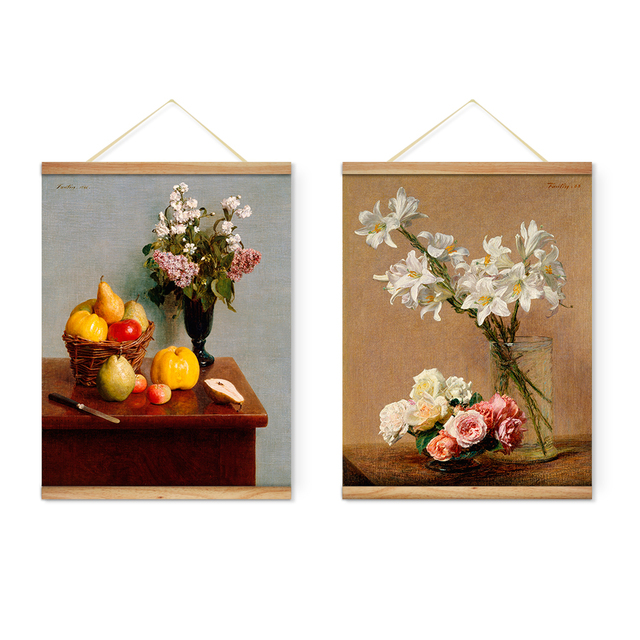 Still Life Vase Flowers Lily Rose Fruit Decoration Wall Art Pictures Hanging Canvas Wooden Scroll Paintings