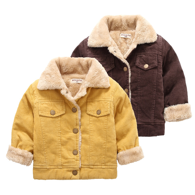 baby boys autumn winter jacket for boy Children outerwear kids warm leather thicken cute coats bebe Wick plus velvet Trench 3T