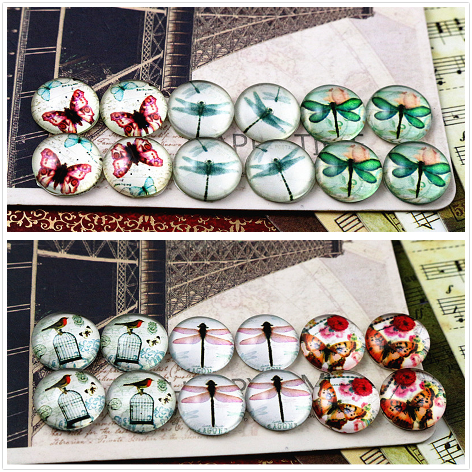 12pcs (One Set) Two Style Fit 12mm Dragonfly Butterfly Handmade Glass Cabochons Pattern Domed Jewelry Accessories Supplies