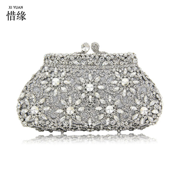XIYUAN BRAND Bridal Metal Clutch Floral Bag Women Crystal Gold Diamond Rhinestone Evening Bag Wedding Party Handbags Purse Lady