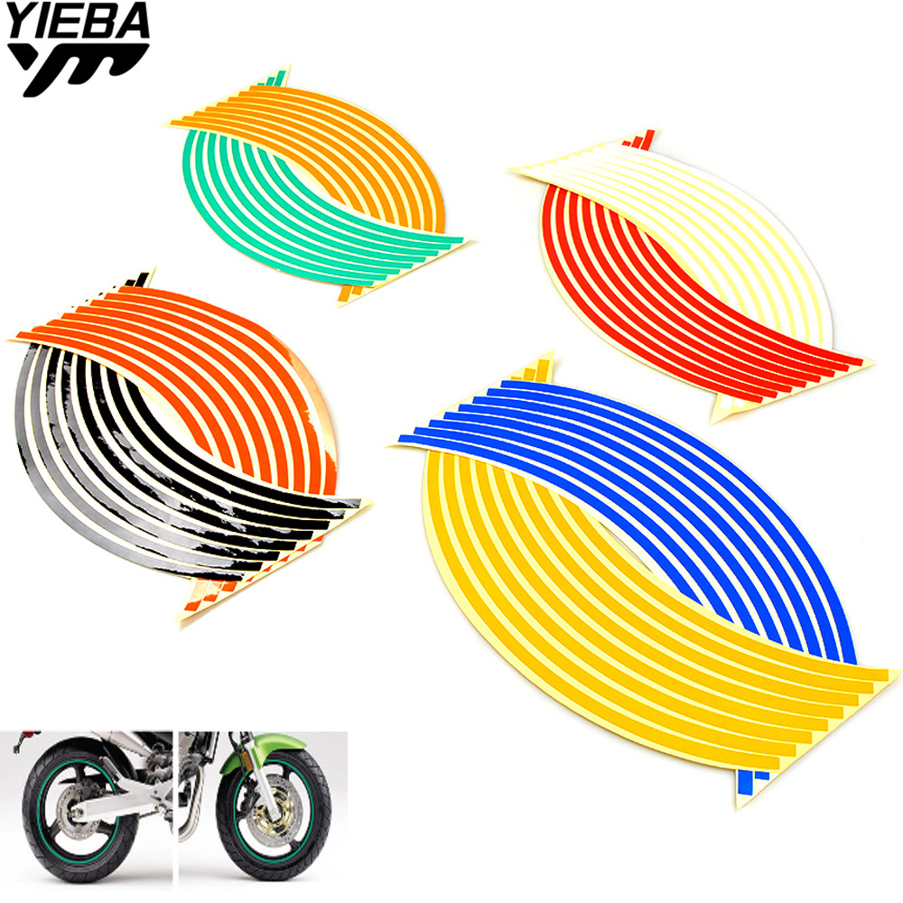 17/18inch wheel Strips Motorcycle Reflective Wheel Sticke for <font><b>yamaha</b></font> MT-01 YZ250 XT250 <font><b>WR450F</b></font> SR400 ducati Monster 695 1100 image