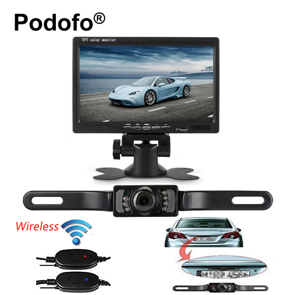Podofo Wireless Transmitter Car Rearview Monitor with License Plate Camera Waterproof IR Night Vision 7 TFT LCD Reverse System power tool battery for hil 36v 3000mah li ion cpc b36 te6 a bp6 86 te7 a