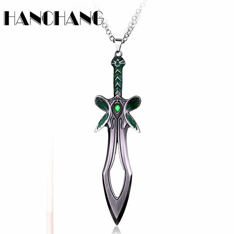 HANCHANG Butterfly Sword Necklace Game Series DOTA 2 Weapon Pendants Necklaces men necklace collares Hip Hop Jewelry