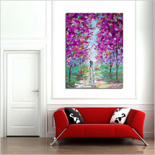 100% Hand painted landscape oil painting on canvas modern abstract lover walking in purple flowers for home decor