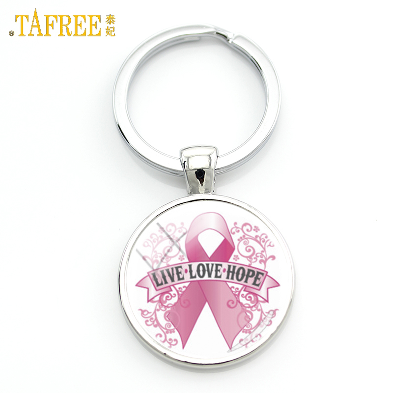 TAFREE Pink Ribbon Keychain Caring For Breast Cancer Charitable Activities Bag Accessories Car Pendant Gift Keyring Jewelry CC12