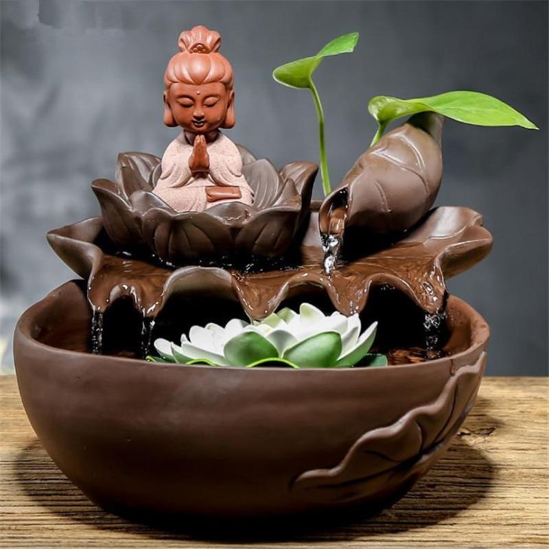 Chiński budda lotos fontanny wodne dekoracji domu Feng Shui koła biuro w domu Tabletop fontanna wody figurki dekoracje w Figurki i miniatury od Dom i ogród na  Grupa 1