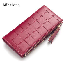 Mihaivina Women Wallets Luxury Brand Long Wallet Designer Purse Female Clutch Double Zipper Lady Purses Carteira Feminia Gifts.