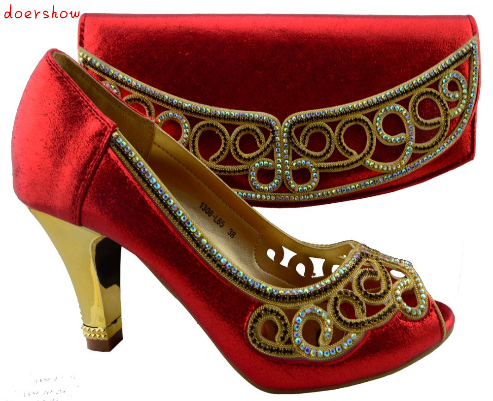 doershow fashion African woman matching italian shoe and bag set for party  !HZL1-26 italian shoes with matching bag new design african pumps shoe heels fashion shoes and bag set to matching for party gf25