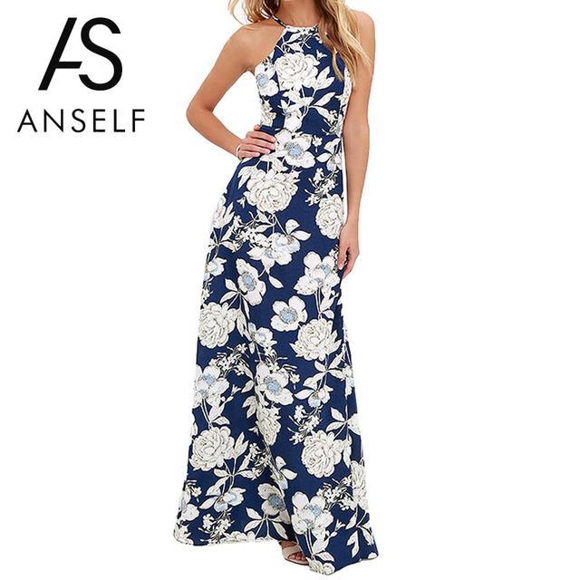 Anself Старинные Цветочный Принт Summer Long Maxi Dress С Плеча Sexy Women Causal Dress Плюс Размер Пляж Платья Партии Vestidos