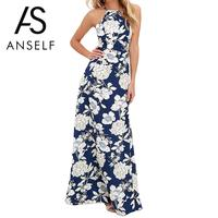 ANSELF Vintage Floral Print Winter Long Maxi Dress Off Shoulder Sexy Women Causal Dress Plus Size