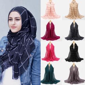 Image 1 - 10pcs Plaids Tartan Cotton Voile Muslim Hijab Scarf For Ladies Long Cross Stripes Double Color Islamic Hijabs Shawl Wrap Scarf
