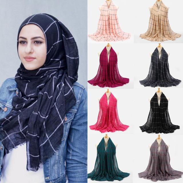 10pcs Plaids Tartan Cotton Voile Muslim Hijab Scarf For Ladies Long Cross Stripes Double Color Islamic Hijabs Shawl Wrap Scarf