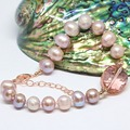 Recién púrpura natural 9-10mm de agua dulce redondo de la perla beads oval de cristal diy especial regalo de las mujeres pulsera de la joyería B1408