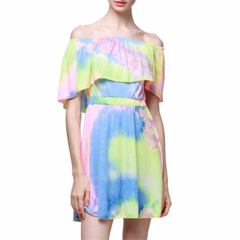 レディースサマードレスビーチカラフルなビキニカバーアップ自由奔放に生きるかわいいスイングドレス太陽 2019 最新のホット販売 vestidos デ · verano に elbise