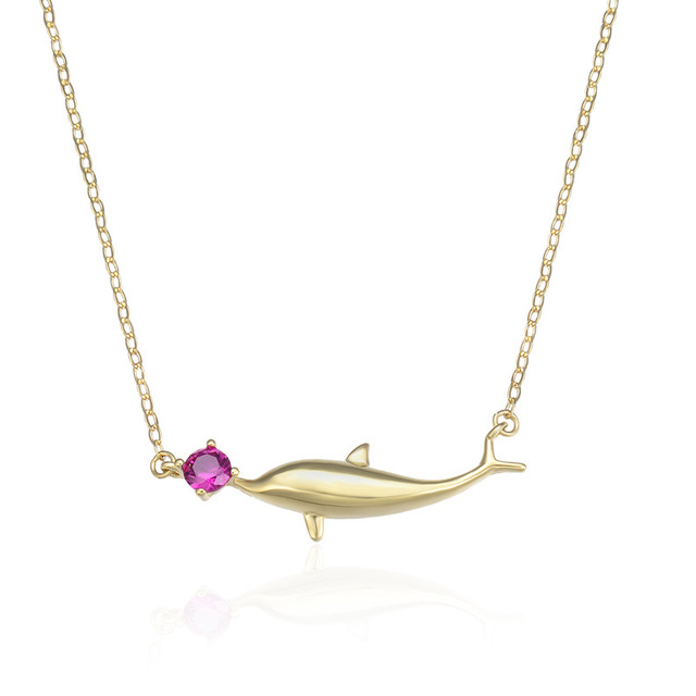 YJAX002290 New Fashion Ladies Small Fresh Dolphin Pendant Accessories S925 Pure Silver Necklace Women