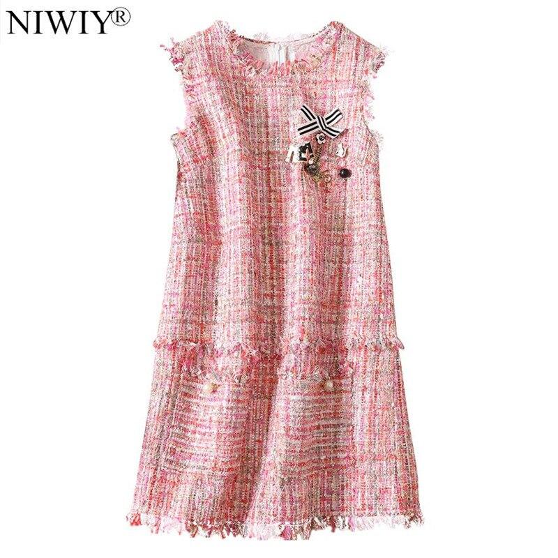 NIWIY Brand Luxury Diamond Tweed Tassel Pink Dress Robe Femme Hiver 2018 Autumn Women Party Dress Vestidos Mujer K9352