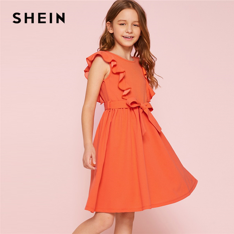 SHEIN Kiddie Orange Solid Ruffle Trim Belted Girls Cute Dress 2019 Summer Party Sleeveless Knee Length Flared A Line Dresses plus knot open back ruffle trim bodysuit
