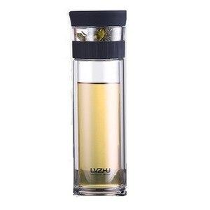 Image 5 - 400 мл портативная двухслойная стеклянная бутылка с сеточкой для заваривания чая и воды с фильтром крышки, автомобильная чашка, креативный подарок, стакан