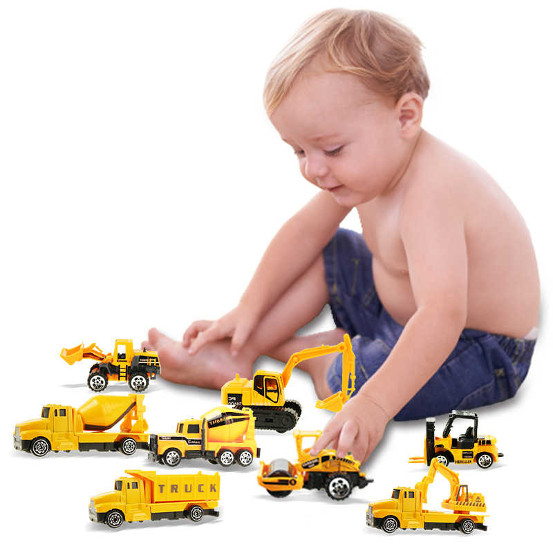 Coolplay 8 шт./компл. Мини Сплав Инженерная модель автомобиля трактор игрушка самосвал игрушечная классическая модель транспортных средств мини-подарок для мальчиков