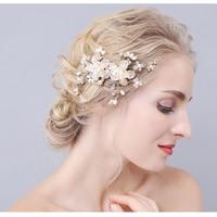 Làm bằng tay crystal Gold bridal tóc combs sang trọng cái mũ cô dâu bán buôn hairbands cưới phụ kiện tóc