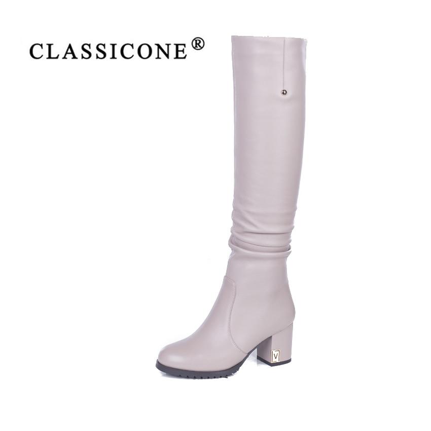 Классические женские зимние сапоги до колена из натуральной кожи на высоком каблуке с шерстяной подкладкой, теплая брендовая модная обувь ...