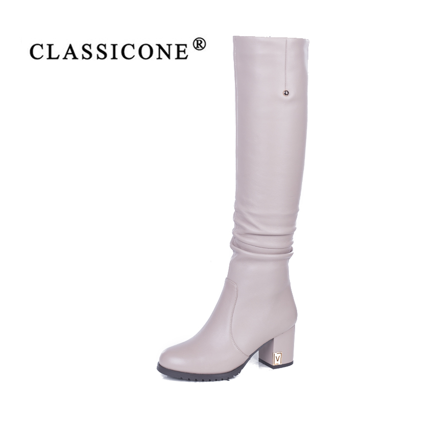 CLASSICONE shoes woman winter knee-high boots genuine leather high heels wool inside warm brand fashion Sole is not slippery