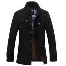 informal lengthy part of the stand-up collar males's windbreaker jacket thickened woolen coat