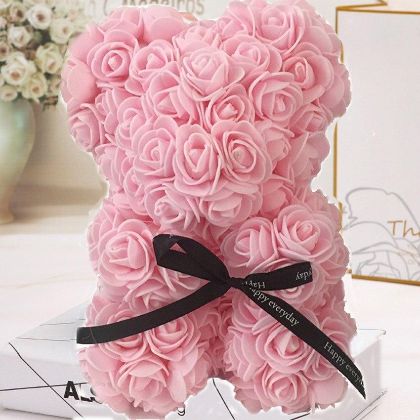 Горячая Распродажа, подарок на день Святого Валентина, 25 см, красная роза, плюшевый мишка, цветок розы, искусственное украшение, рождественские подарки для женщин, подарок на день Святого Валентина - Цвет: Rose clair25cm NoBox