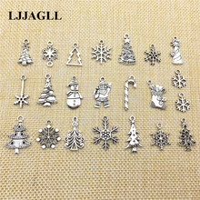 Tibetan Silver 20pcs Mixed Types Christmas Charms Trees Snowflakes Santa Claus Pendants Diy Fit Jewelry Findings Make ASD056