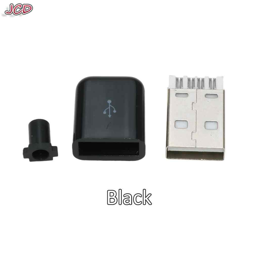 JCD USB الذكور موصل 2.0 التوصيل 4 دبوس نوع المكونات الأبيض الأسود البلاستيك غطاء 2.0 USB موصل