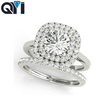 QYI 925 Sterling Silver Double Halo Ring Sets 1 ct Round Cut Sona Wedding Jewelry Women Simulated Diamond Engagement Rings