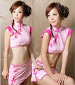 Lingerie rosa sexy cheongsame tradicional chinesa vestuário sleepwear