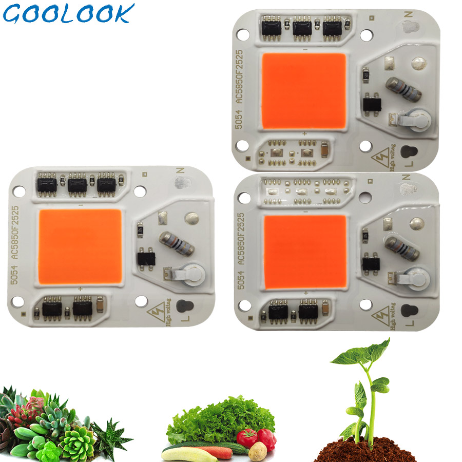 1PC Hydroponice AC 220V 100w 50w 30w COB Led Grow Light Chip Full Spectrum 370nm-780nm For Indoor Plant Seedling Grow And Flower