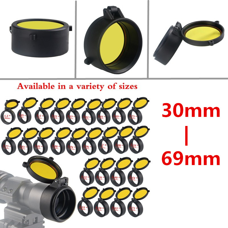 30-69MM Transparent Yellow RifleScope Lens Cover Flip Up Quick Spring Protection Cap Objective Lens For Hunting Airsoft 37-0073