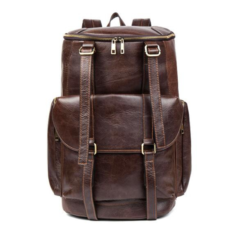 100% Genuine Leather Backpack Large Capacity Cow Leather Travel Bags High Quality Bucket Bag For Man /Women Vintage Laptop Bag cow leather man backpack 100