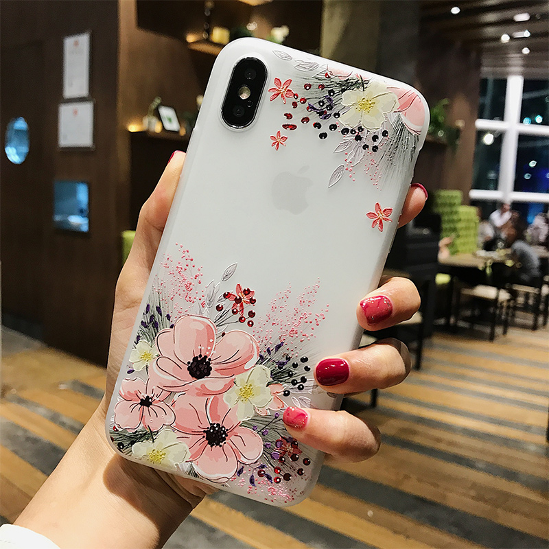 Luxury Stereo Relief Narcissus Flower For iPhone 7 8 6 S Plus Phone case Silicone Floral Cover Back Soft Case For iPhone 6 6S X in Fitted Cases from Cellphones Telecommunications
