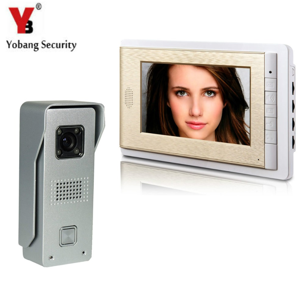 YobangSecurity Video Intercom Monitor 7 Video Doorbell Phone Door Phone Home Security Color Wired for House Office Apartment yobangsecurity black 7 inch color tft lcd screen monitor wired video doorbell camera system for house office apartment