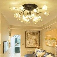 Lámpara colgante de rama de espiga de hierro moderna nórdica bola de cristal burbuja sala de estar restaurante dormitorio bar iluminación colgante|Luces colgantes| |  -
