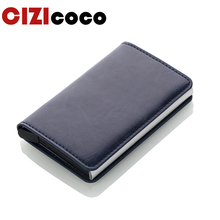 Cizicoco Antitheft Men Vintage Credit Card Holder Blocking Rfid Wallet Leather Unisex Security Women Magic
